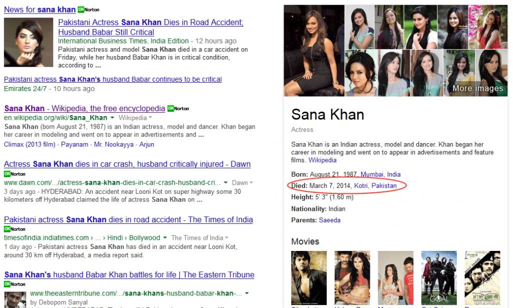 Google Knowledge Graph too Killed Indian Actress Sana Khan