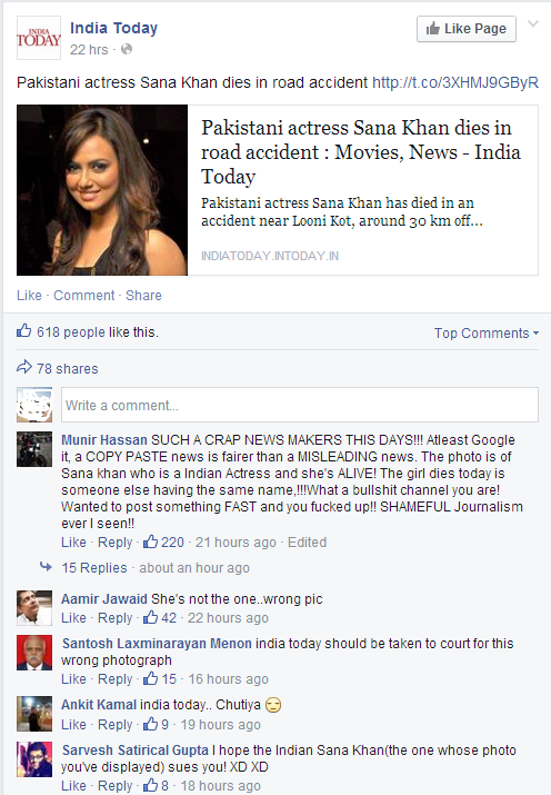 IndiaToday Error-Killed Indian Sana Khan in hasty instead of Sana Khan from Pakistan
